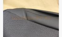 Чехлы экокожа черная, ткань в черточку (для комплектации Дастер 2015- с разд. задней спинкой)