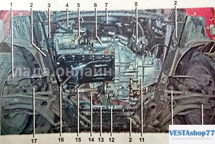 Вид снизу Lada Vesta, передняя часть